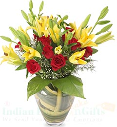 roses and lilies flower vase