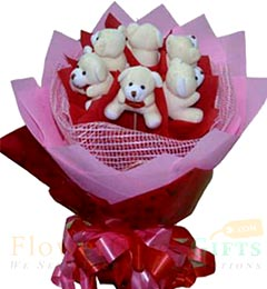 6 Teddy bouquet