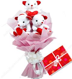 Cute Bouquet Of 3 Teddy Bear