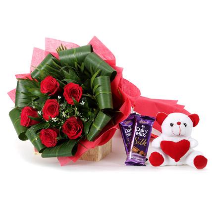 teddy silk chocolate bouquet