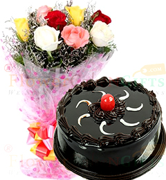 500gms Chocolate Truffles Cake with Mix Roses Bunch