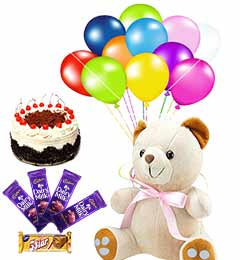Combo Of Teddy Cake Chocolates And Balloons