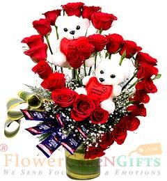 Teddy Roses Flower Chocolates Bouquet
