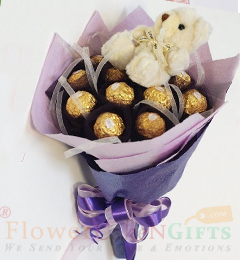 Teddy Ferrero Rocher chocolate bouquet