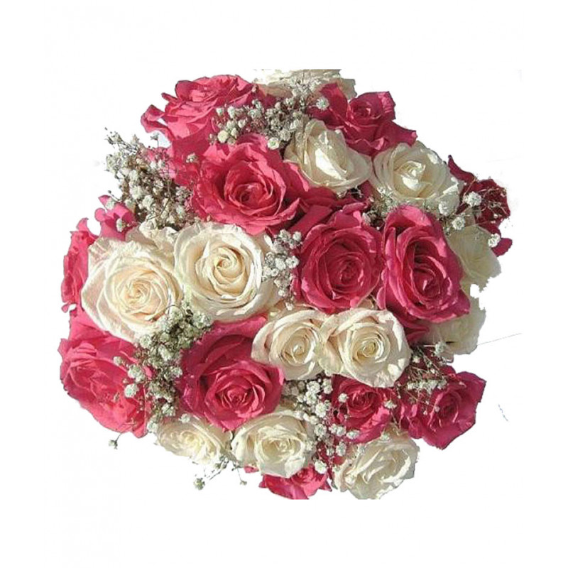 Send Online White And Pink Roses Flower Bouquet Order Delivery
