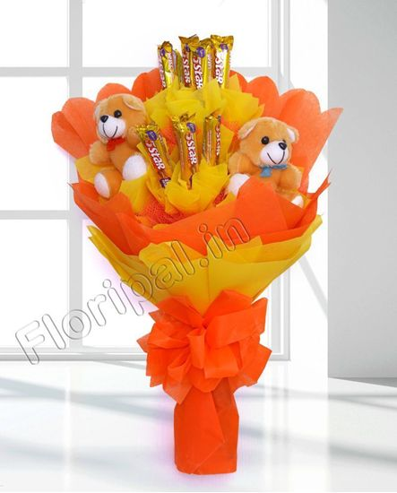 Designer Teddy with five star Chocolate bouquet