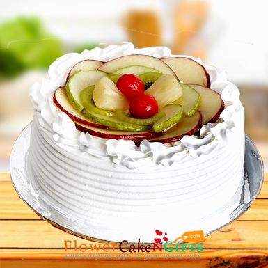 vanilla mix fresh fruit cake half kg