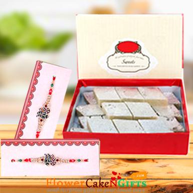 500gms kaju katli sweet box and Designer Rakhi