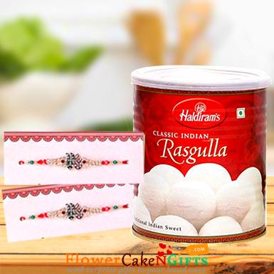 1kg Rasgulla and Designer Rakhi