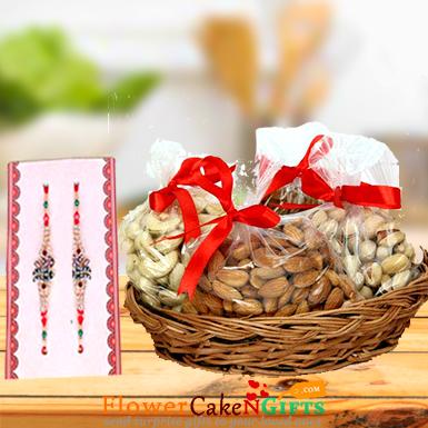 Designer Rakhi and 1kg dry fruits gift pack