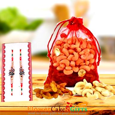 250 gms Dry Fruits and Designer Rakhi