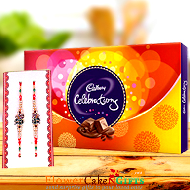 Designer Rakhi and Cadbury Celebration Pack