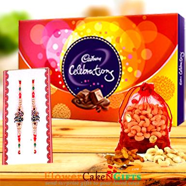 250 gms Dry Fruits n Designer Rakhi and Cadbury Celebration Pack