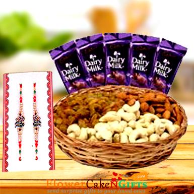 Half Kg Dry Fruits n Designer Rakhi and dairy milk chocolate
