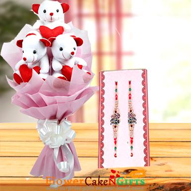 teddy bear bouquet and rakhi