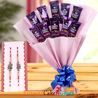 Rakhi n Roses with Chocolate Bouquet