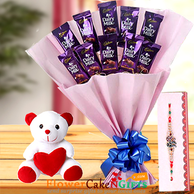 Teddy Rakhi n Roses with Chocolate Bouquet