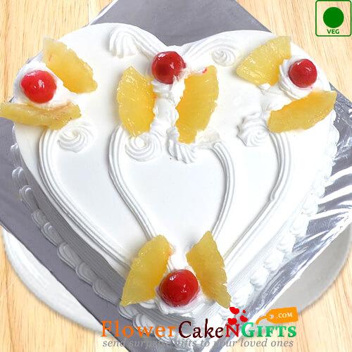 Half Kg Eggless Pineapple Cake Heart Shape