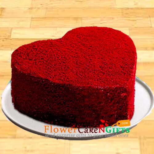 Half Kg Red Velvet Heart Cake