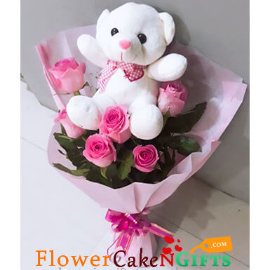 pink roses n teddy bouquet