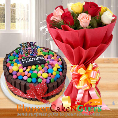 1kg eggless kitkat gems chocolate cake ten mix roses