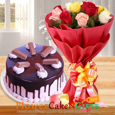 eggless half kg kitkat chocolate cake n ten mix roses