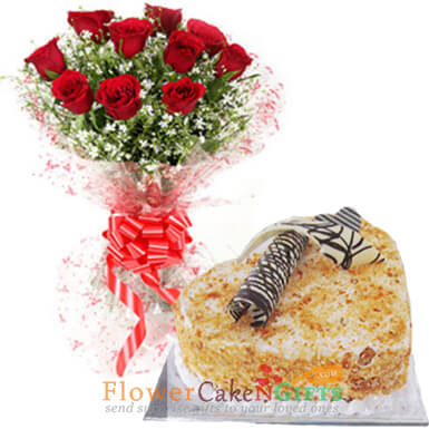 eggless half kg heart shaped butterscotch cake and red roses bouquet