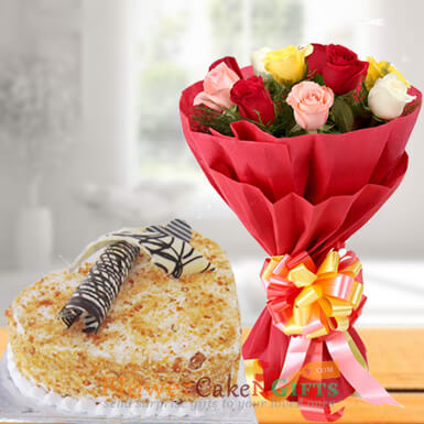 eggless 1kg heart shaped butterscotch cake and roses bouquet