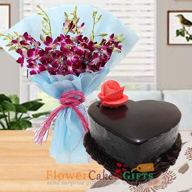 half Kg Eggless half kg eggless heart shape chocolate truffle cake n orchids bouquet