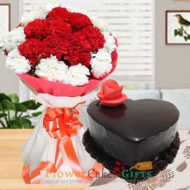 half kg eggless heart shape chocolate truffle cake and carnation bouquet