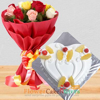 half kg eggless heart shape pineapple cake mix roses bouquet