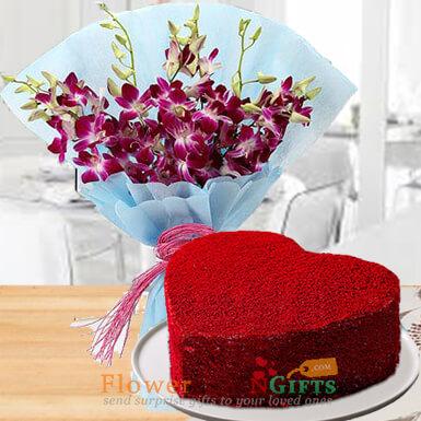 half kg eggless heart shape red velvet cake mix orchid bouquet