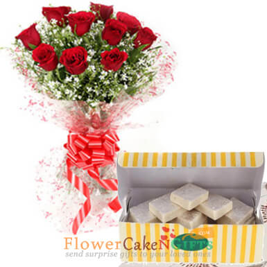 10 red roses and half kg kaju barfi sweets