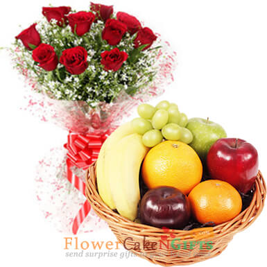 10 red roses and 2 kg fresh fruit basket