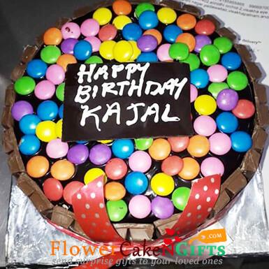 Excellent Send Online 500Gms Kitkat Gems Chocolate Cake Order Delivery Birthday Cards Printable Opercafe Filternl