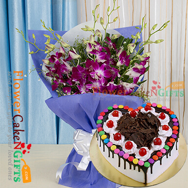 half kg eggless black forest gems heart shape cake and orchid bouquet