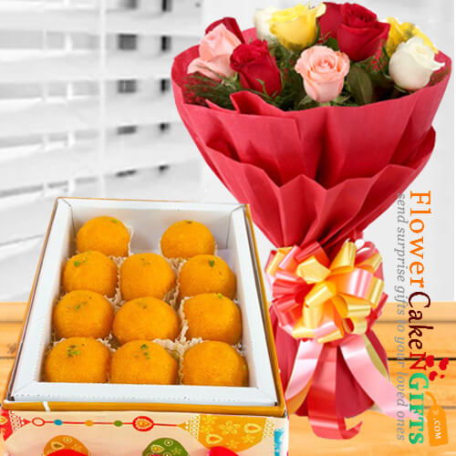 1kg pure ghee laddu sweet box and roses bouquet