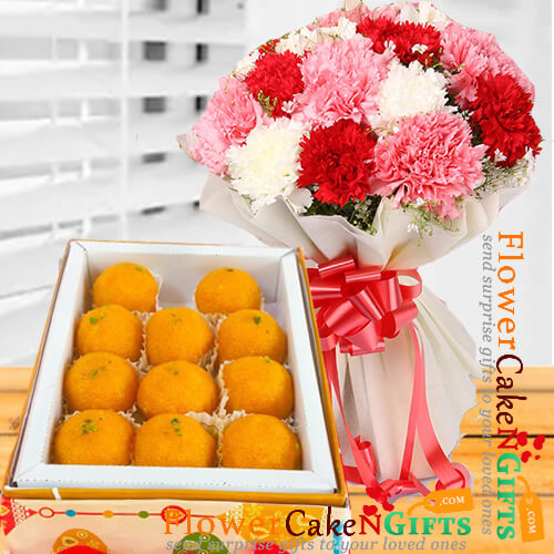 500 gms pure ghee laddu sweet box and carnation flower bouquet