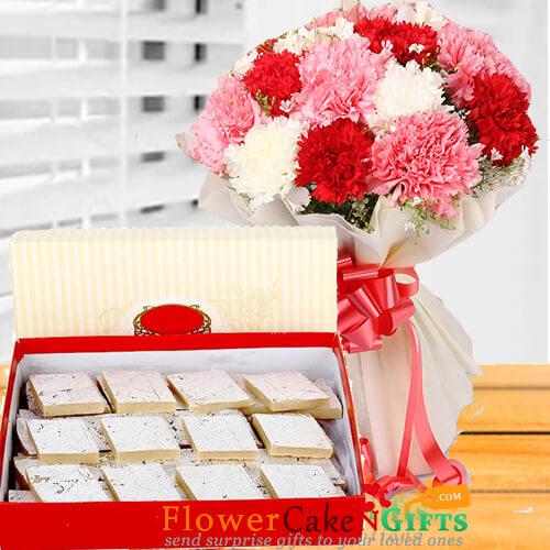 half kg kaju barfi sweet and mix carnation flower bouquet