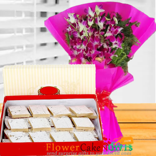 half kg kaju barfi sweet and orchid flower bouquet