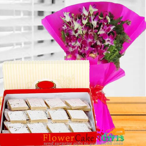 1kg kaju barfi sweet and orchid flower bouquet