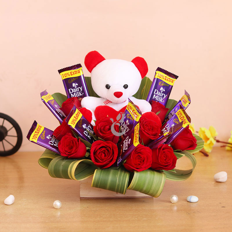 red roses teddy five star chocolates bouquet