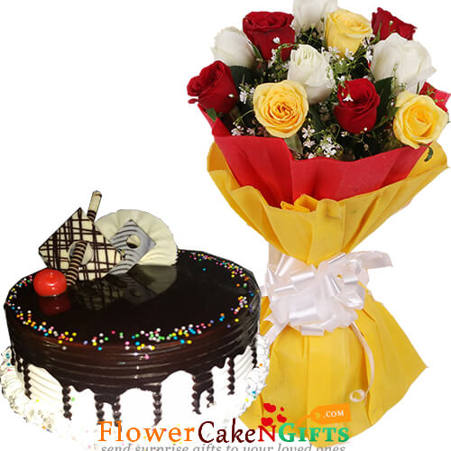 half kg eggless choco vanilla cake n 10 mix roses bouquet