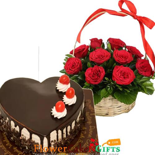 half kg eggless heart shaped choco vanilla cake n 15 red roses basket