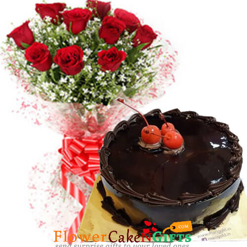 Eggless Chocolate Truffle Cake N Red Roses Bouquet