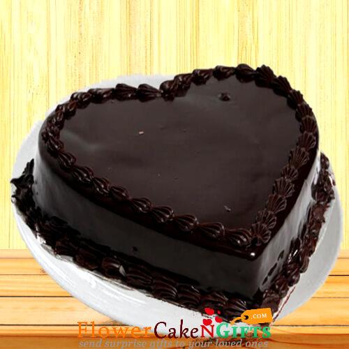 1Kg Heart Shaped Chocolate Truffle Cake