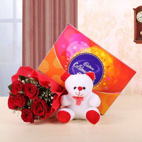 6 red roses teddy bear and cadbury celebrations chocolate gift combo
