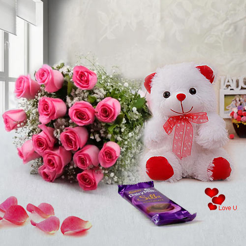 15 pink roses bouquet teddy and 1 dairy milk silk chocolate bar