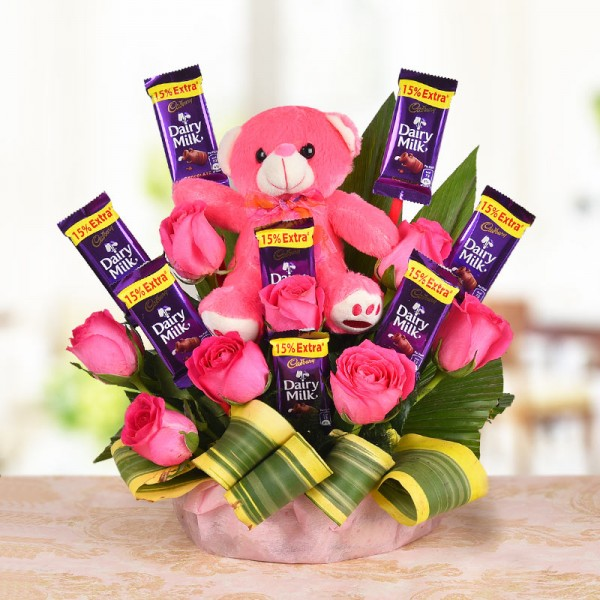 pink roses teddy chocolates bouquet