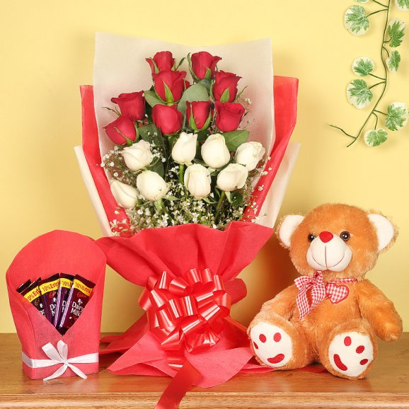 18 mixed roses brown teddy bear five dairy milk chocolates